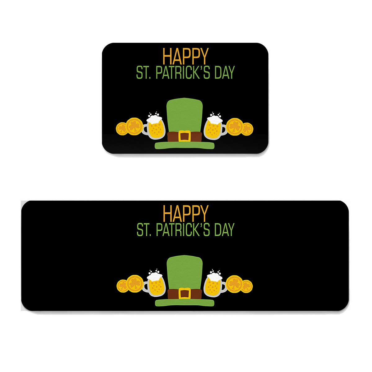 St. Patrick's Day Hat goldfsr8834 19.7  x 31.5 +19.7  x 47.2  Fantasy Star Kitchen Rug Sets 2 Piece Floor Mats Non-Slip Rubber Backing Area Rugs Green Hat and Rainbow Pattern Doormat Washable Carpet Inside Door Mat Pad Sets (23.6  x 35.4 +23.6  x 70.9 )