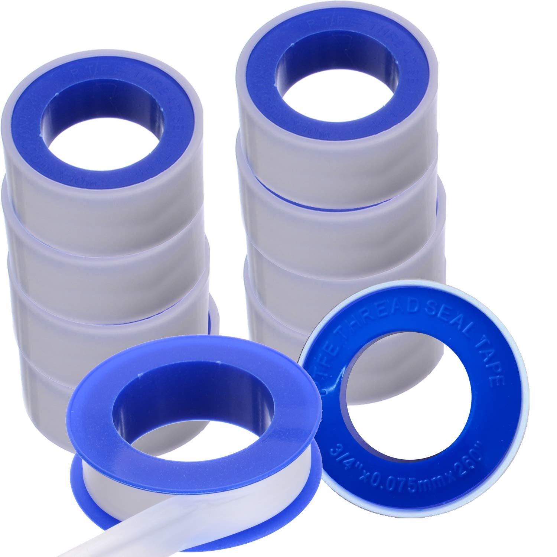 Dopkuss Plumbers PTFE Pipe Sealant Tape Flex Seal Tape Waterproof 10 Pack PTFE Teflon Tape Plumbers Tape White 3/4