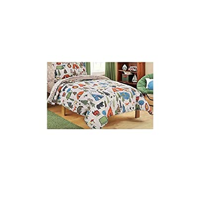 Mainstays Kids 5-Piece Bed in a Bag Coordinating Bedding Set, Twin (Green/Brown Camping Design): Home & Kitchen