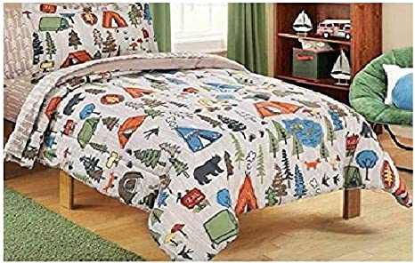 Mainstays Kids 5 Piece Bed In A Bag Coordinating Bedding Set Twin Green Brown Camping Design Setia Cahyono352