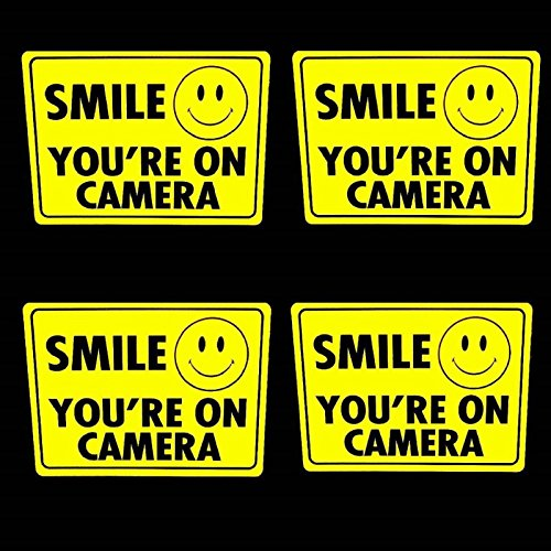 4 SMILE SECURITY CAMERA WINDOW STICKERS - Surveillance Home Video (Custom Security Camera Video)