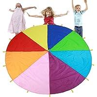 TMISHION Paracaídas, Rainbow Parachute los niños Juegos Kindergarten Juguete de educación temprana para Fiestas Deportes Actividades Grupo Ejercicio al Aire Libre,3m 3.6m 6m
