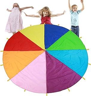 TMISHION Rainbow Parachute, Jouet d'éducation précoce pour Enfants de Fames pour activités Sportives, Activités en Plein air en Groupe, 3m
