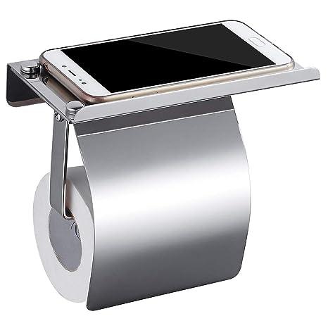HOMFA Portarrollo para Papel Higiénico con Tapa y Estante para el Teléfono Móvil Soporte para Papel