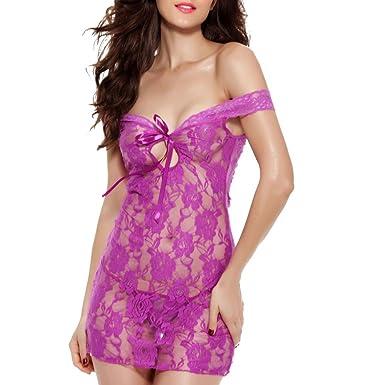 Damen Reizwäsche Dessous Spitze Kleid Babydoll Nachtwäsche Unterwäsche