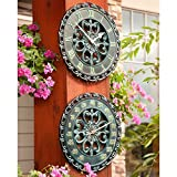 2 Piece Outdoor Verdigris Clock and Thermometer Set Patio Lawn Garden Wall Decor