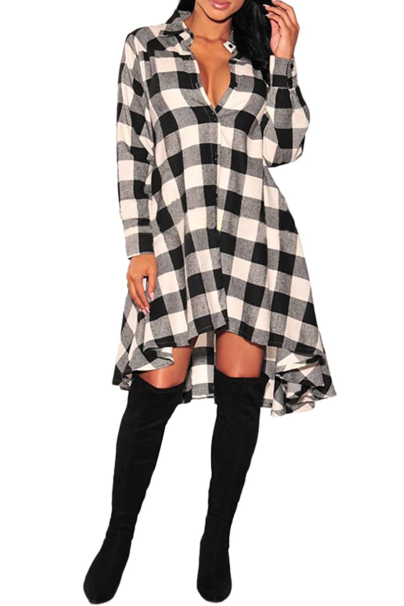 YMING Women's Casual Long Sleeve Button Down Plaid Tunic Shirts Dresses