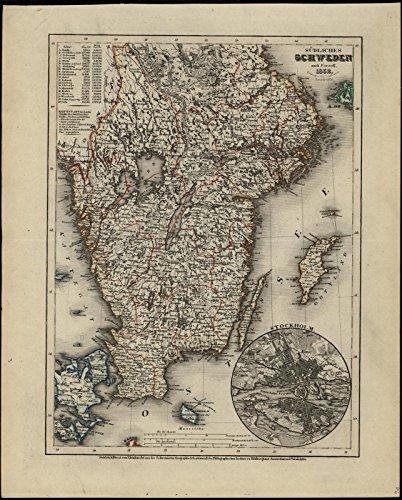South Sweden Stockholm Baltic Sea 1852 Meyer scarce detailed antique map