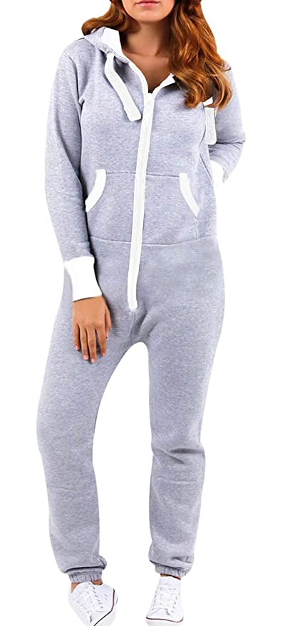 7c3d36858f9 Amazon.com  SKYLINEWEARS Women s Ladies Onesie Hoodie Jumpsuit Playsuit   Clothing