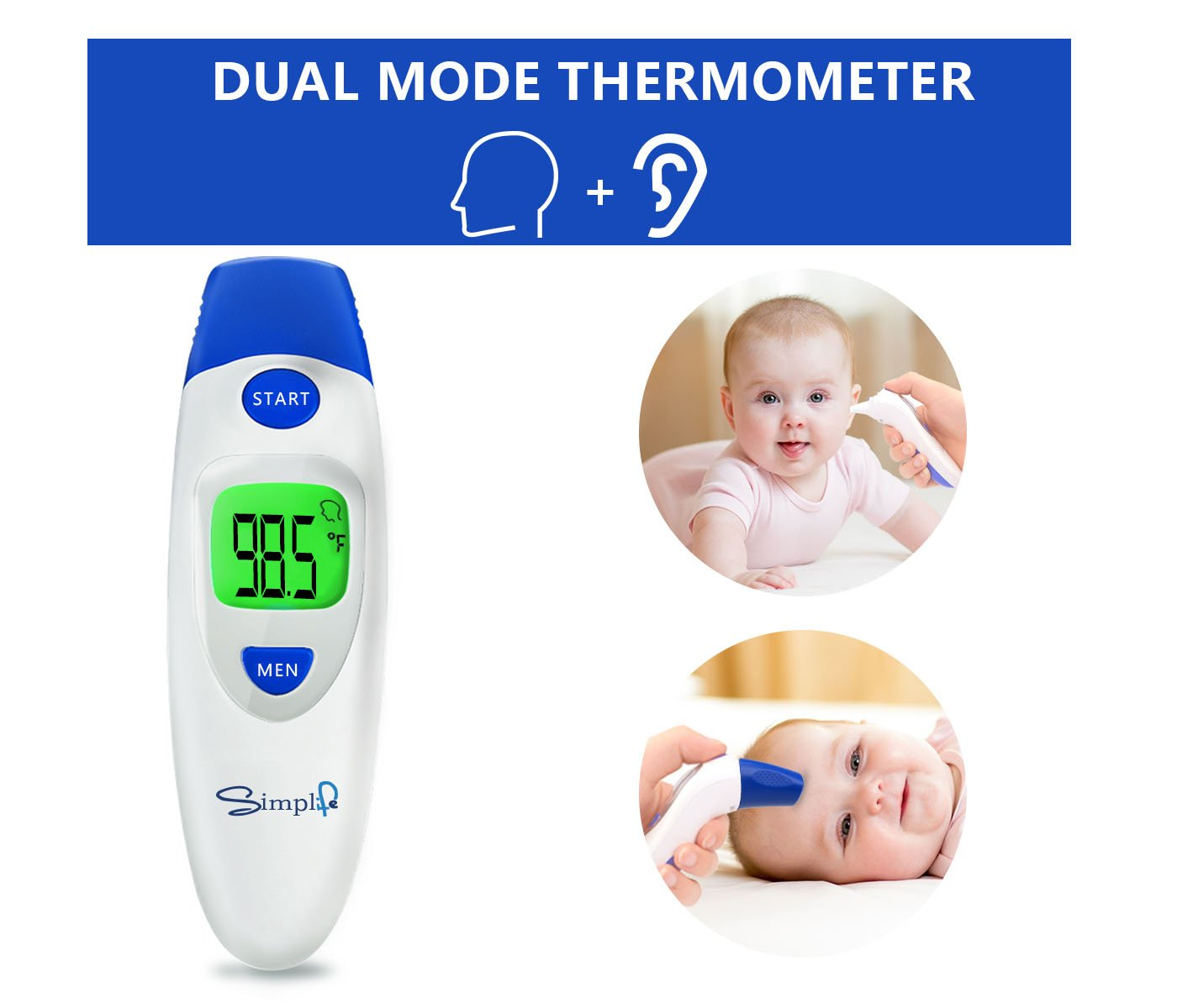 Baby Forehead Thermometer with Ear Function, Digital Medical Infrared Body Temporal Thermometer for Fever, for Kids, Children, Adults, Infants, Toddlers, FDA and CE Approved