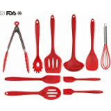 Silicone Kitchen Utensils Set By VIDEOTORG, Non Stick Cooking Utensils Heat Resistant Baking Spatula Hygienic Antibacterial Safety Health Silicone Kithcen Tools For Cooking (10 Pieces)