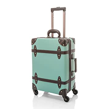 "4442d5de6 UNIWALKER Vintage Suitcase ABS Rolling Luggage with TSA Lock (28"", Blue )"
