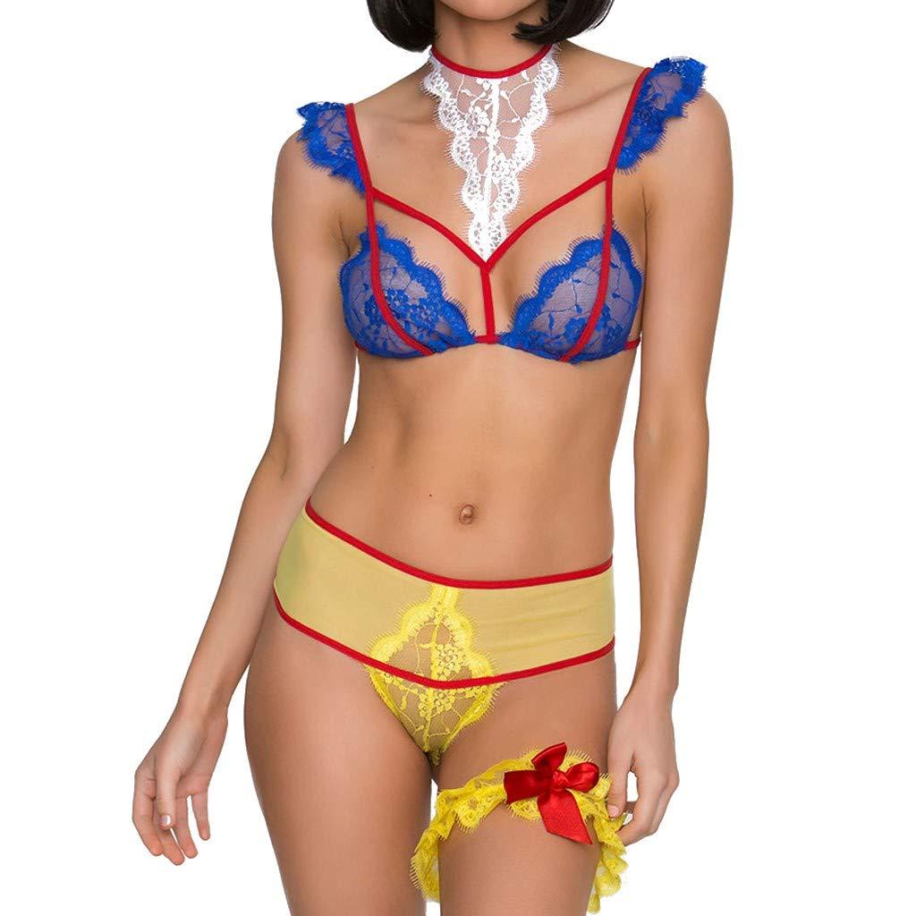 Sexy Lingerie for Women for Sex,Women Lingerie Chemise Nightie Lace Babydoll Slip Dresses Temptation Teddy Nightwear Blue