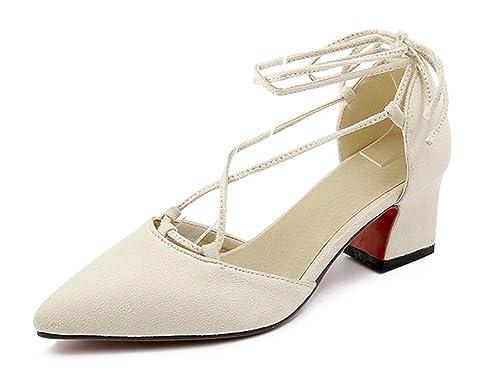 CXQ-Talons QIN&X Women's Bloc carré Peu Profond Tête Bouche Chaussures, Vert,42