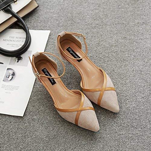 Negro De 35 Ranuras Y Punta Sandalias Con Zapatos Tamaño Hhgold Para color 34 Alto Soltera Mujer Tacón aZxwT