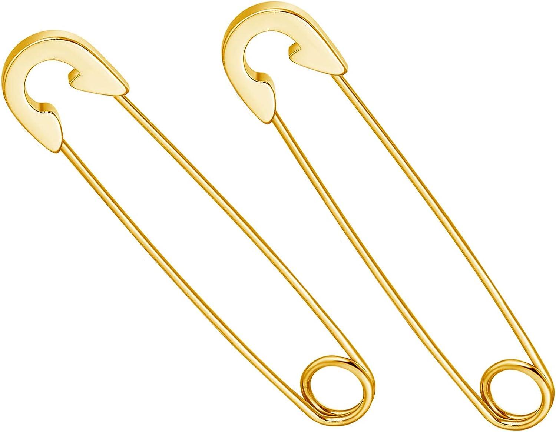 Minimalist Punk Stainless Steel Cartilage Safety Pin Earrings Snap Hoop Earrings for Women Teens Mens Gifts