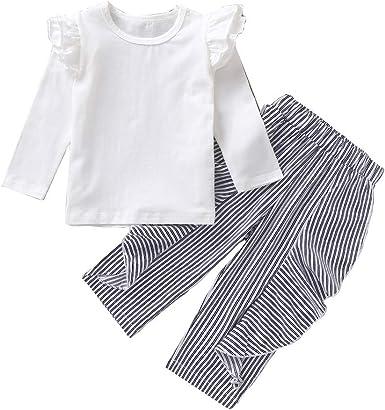MAYOGO Blusa Bebe Niña Otoño Manga Larga Pantalon Rayas con Volantes Conjuntos Ropa Bebe Recién Nacido Niña 6 Meses Camiseta Niña Casual Traje de Bebé Niña Dulces 0-4 Años: Amazon.es: Ropa y
