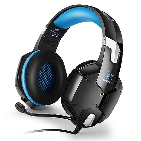 Kotion Each G4000 Stereo-Gaming-Headset mit Mikrofon und Lautstärkeregler für PC-Spiele, Rot/Schwarz