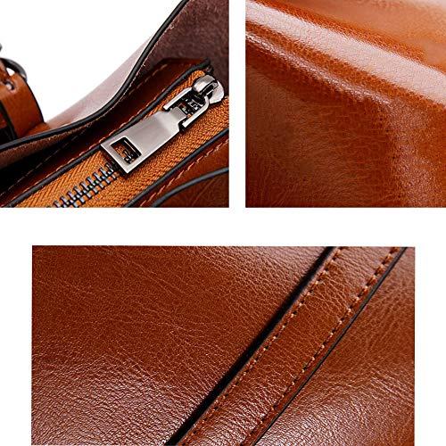 Ajustable De Bolso con Hombro Hombro Diseño KOKR Bolso De De Mensajero Bolso Green De Vintage Correa Vaca Cuero De Red De YYUwxqp0