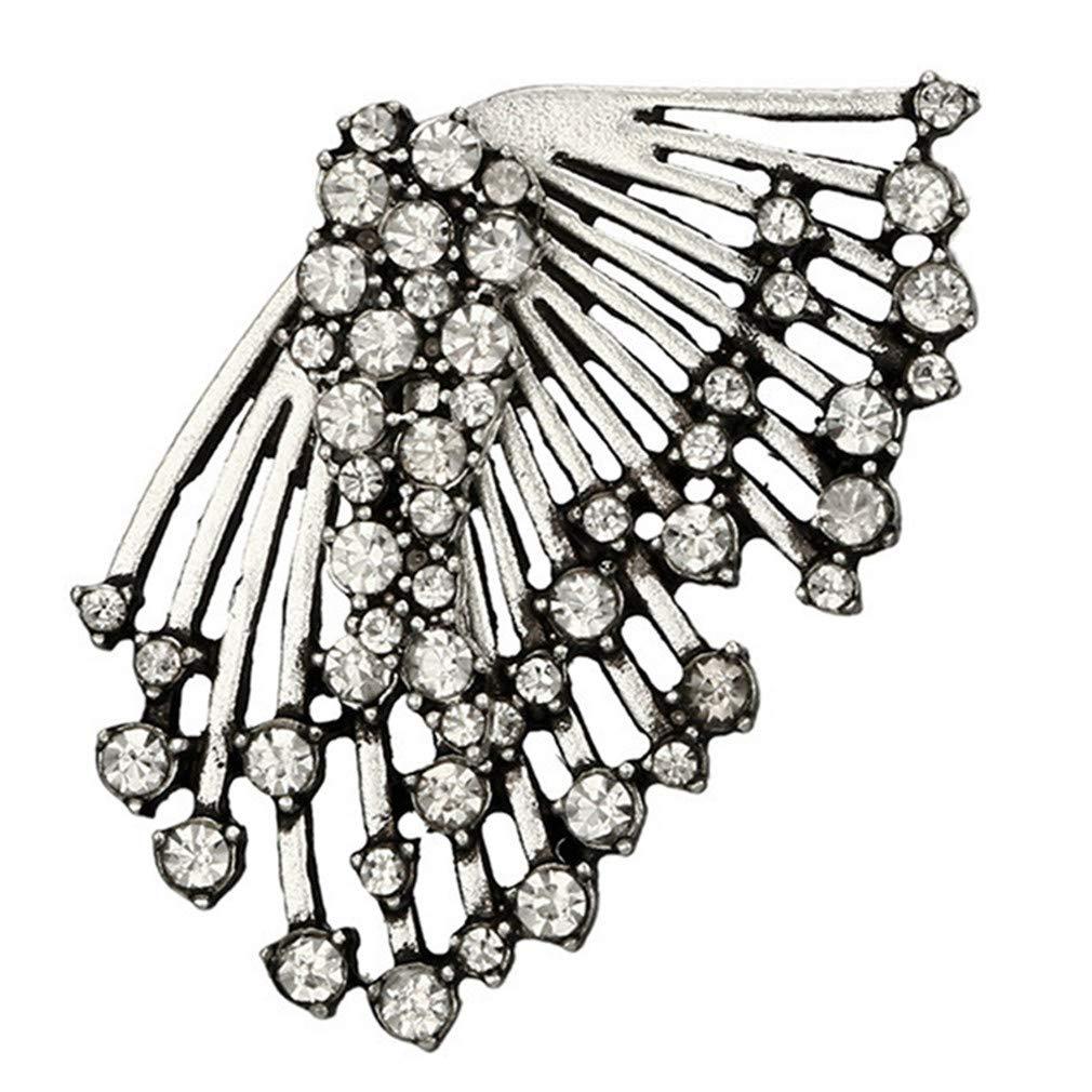 Iumer 1pcs Fashion Asymmetric Rhinestone Wing Ear Studs Crawler Climbers Earrings