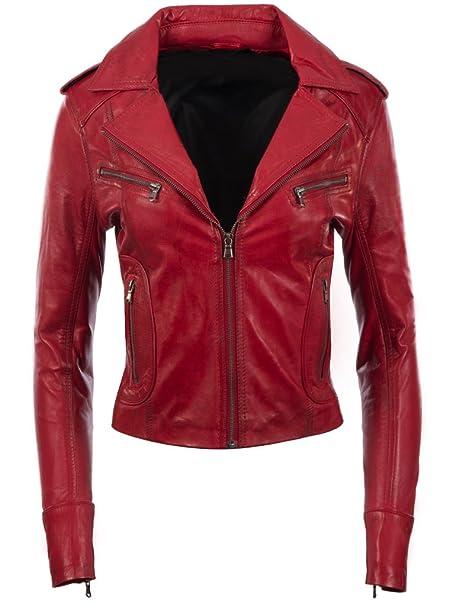 Giacca da motociclista da donna MDK in vera pelle morbidissima, elegante,  corta