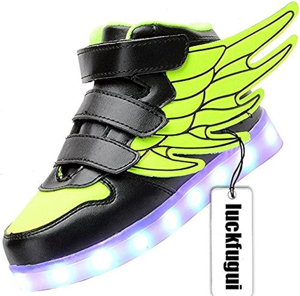 luckfugui Little Big Kid boy USB Flashing LED Shoes Sneaker Green37