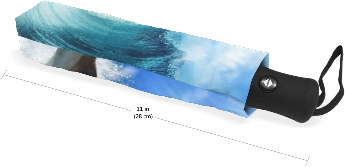 DOENR Compact Travel Umbrella Sea Dolphins Sun and Rain Auto Open Close Folding Umbrella