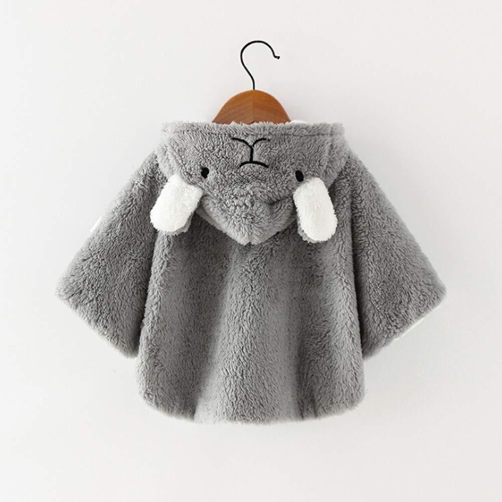 CHIRORO Baby Kinder Kapuze Cape Mantel Winter warme Pl/üsch Poncho Cloak Umhang Mantel Outwear f/ür Baby M/ädchen Jungen,Rosa,41cm