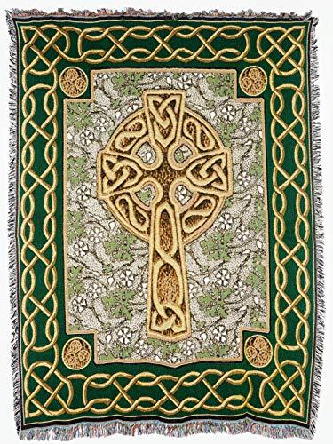 Throw Cotton Irish (Pure Country Weavers - Irish Celtic Cross Boho Throw Blanket with Fringe Cotton USA Size 72 x 54)