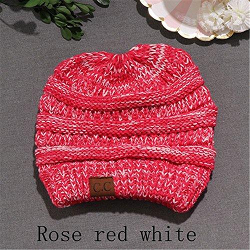 para Sombreros la pañuelo otoño DARKGREY Gris blanco White suave Knit cabeza elástico Beanie oscuro Bun Red Rose HMILYDYK de para Messy rojo cable cola mujeres Ponytail invierno Cap GUTAILHAT w6qnwT1I