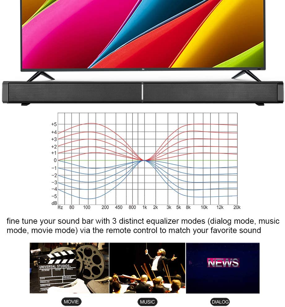 Noprm LP-09 Sound Bar BT 5.0 Speaker 40W Subwoofers 3D Home Theater Sound Amplifier Wall-Mounted Remote Control AUX in