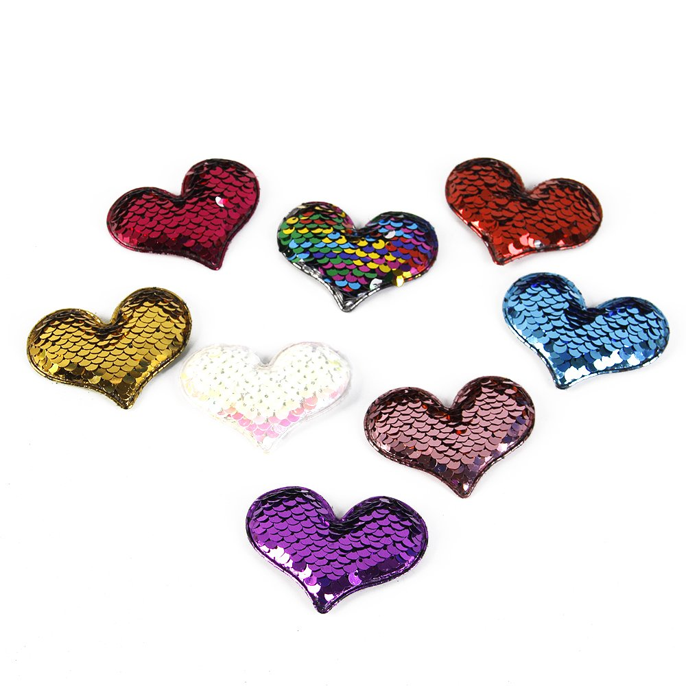 David accessories Sequins Patch Heart Mermaid Flip Up Stickers Reversible Sequin Crafts Accessories DIY Decorations for Clothing Shoes Hats 8 PCS (Assorted A) C3362