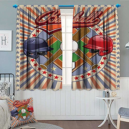 Sports Decor Thermal Insulating Blackout Curtain Retro Pop Art Style Baseball Logo with Vertical Striped Setting Bat and Ball Game Match Print Patterned Drape For Glass Door 52