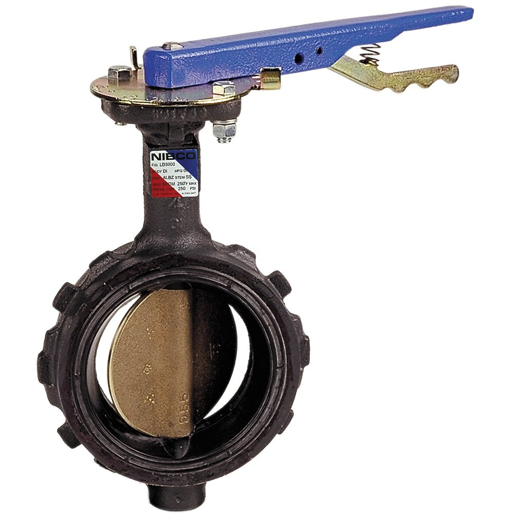 NIBCO WD-2000-3 Series Ductile Iron Butterfly Valve with EPDM Liner and Aluminum Bronze Disc, Lever-Lock Handle, Wafer, 3''