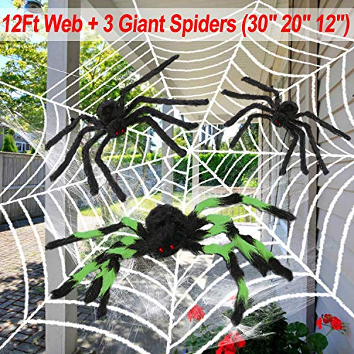 12 Feet Halloween Giant Spider Web with Spiders 3 Large (30inch/20inch/12inch) Halloween Decoration for Outdoor Window Garden Indoor Realistic Looking Webbing Hairy Cobweb Horrible Decor by Qiwoo