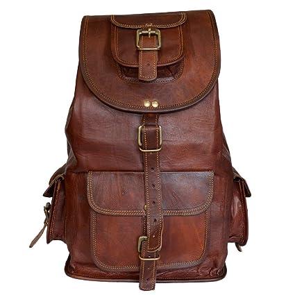 8f3f9d725da5 Classic Vintage Leather Backpack for Men | Handmade Laptop Drawstring  Rucksack Backpack for Women, Large