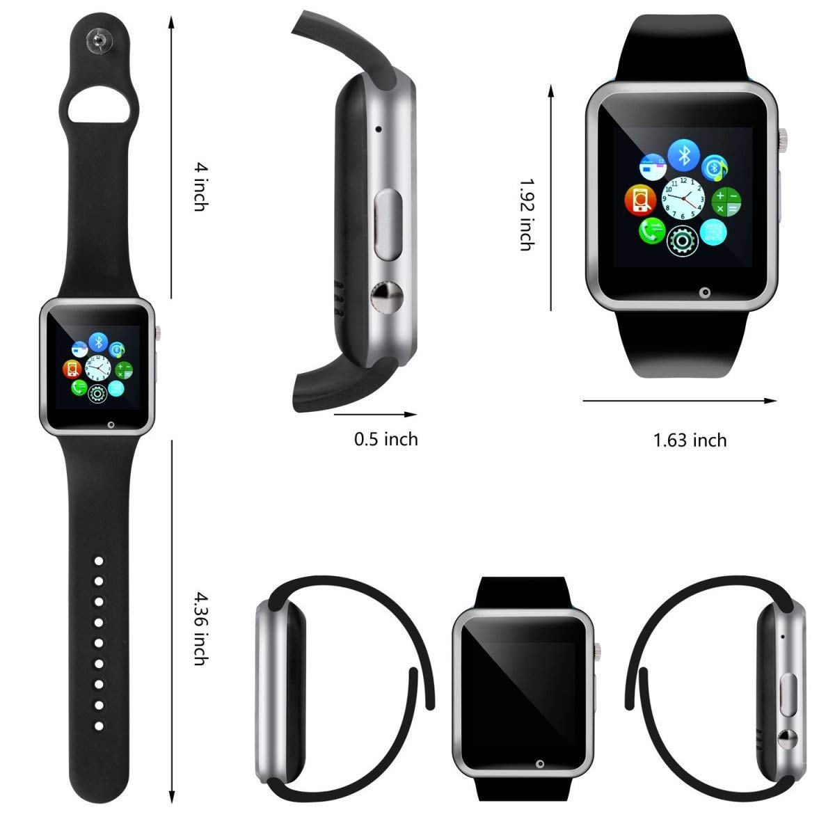 321OU Smart Watch Fitness Tracker Bluetooth Smart Watch Smartwatch Phone Fitness Tracker SIM SD Card Slot Camera Pedometer iPhone iOS Samsung LG Android Men Women Kids (New Black) by 321OU (Image #5)