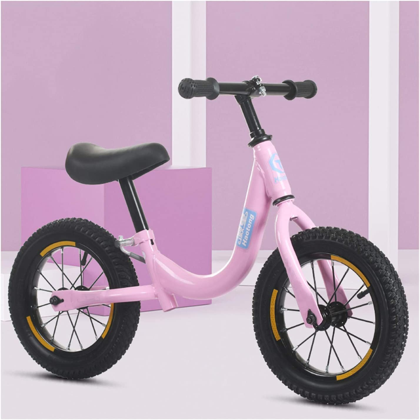 CJW-LC Bicicleta De Equilibrio, Bicicleta Sin Pedales Acero De Alto Carbono Balance Bike con Ruedas Inflables De 12 Pulgadas Asiento Y Manillar Regulables En Altura, para Niños De 2-6 Años