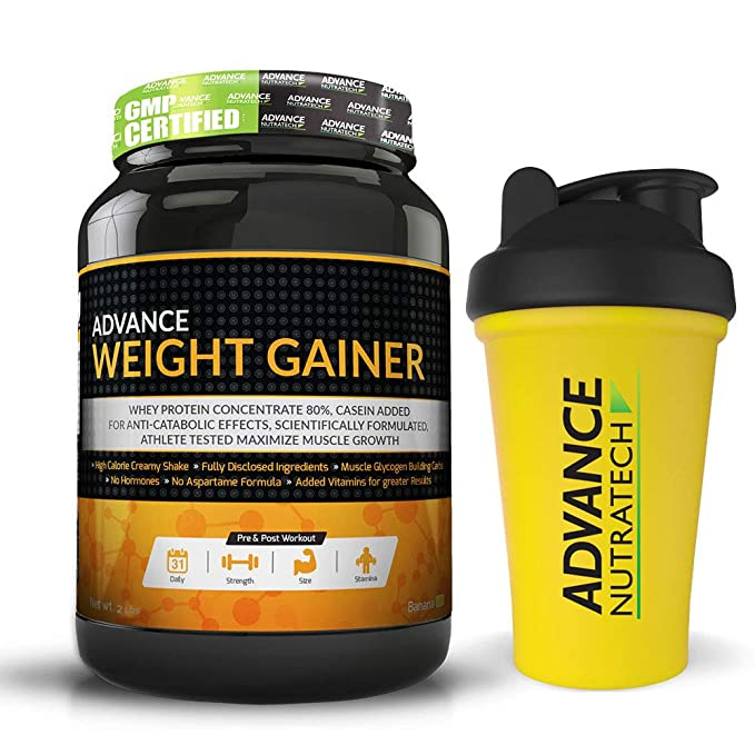 Advance Nutratech Weight Gainer 2 Lbs Banana Sugar & Shaker Free Mass & Weight Gainers at amazon