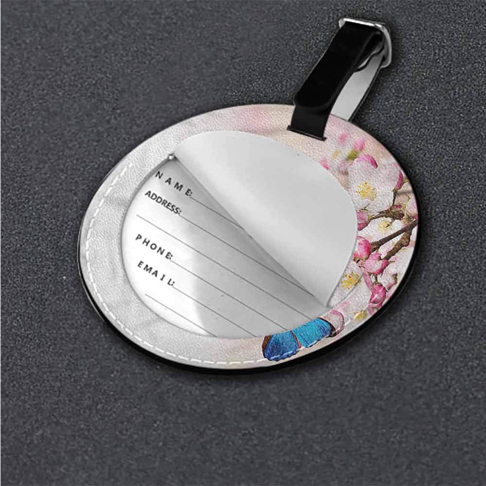 Id Tag Suitcase Carry Butterfly,Blue Wings on Dark Label Travel Accessories