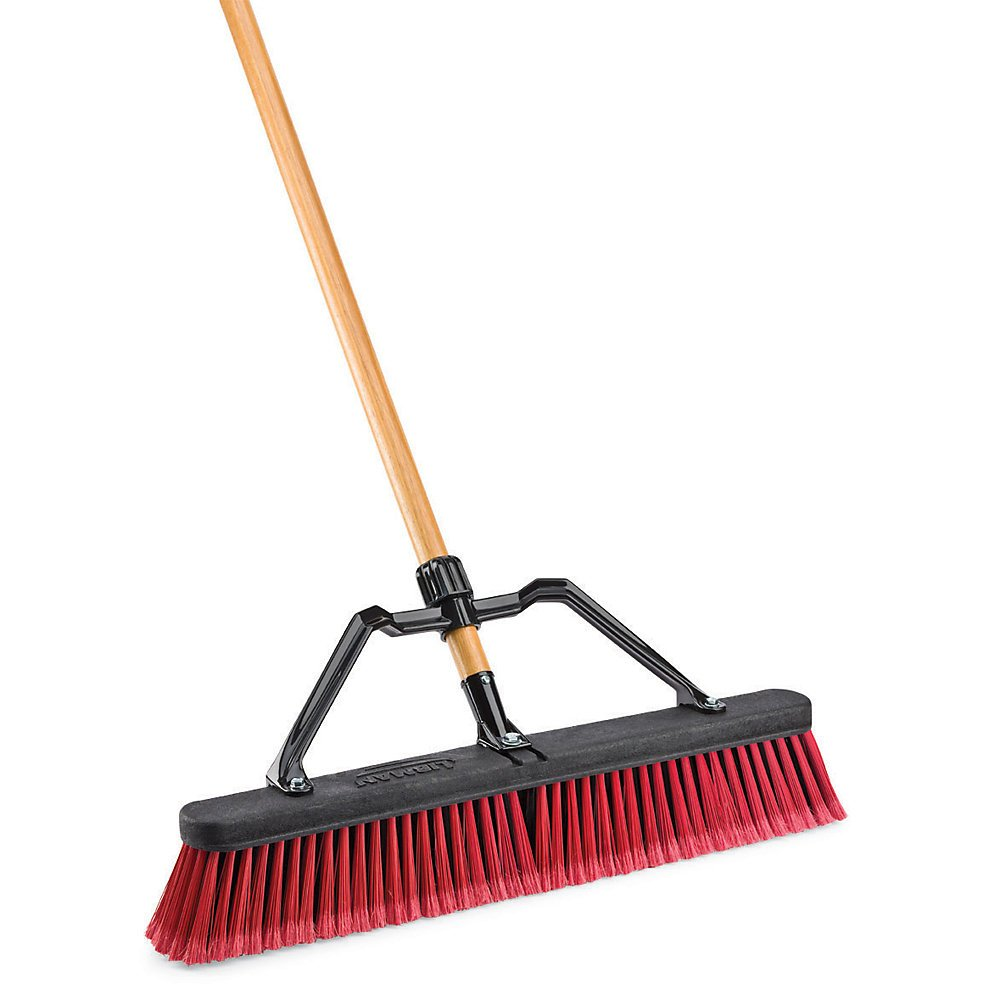 LIBMAN 827 Push Broom with Hard Polymer Support Brace, 24'', Medium-Duty Bristles, Wood Handle