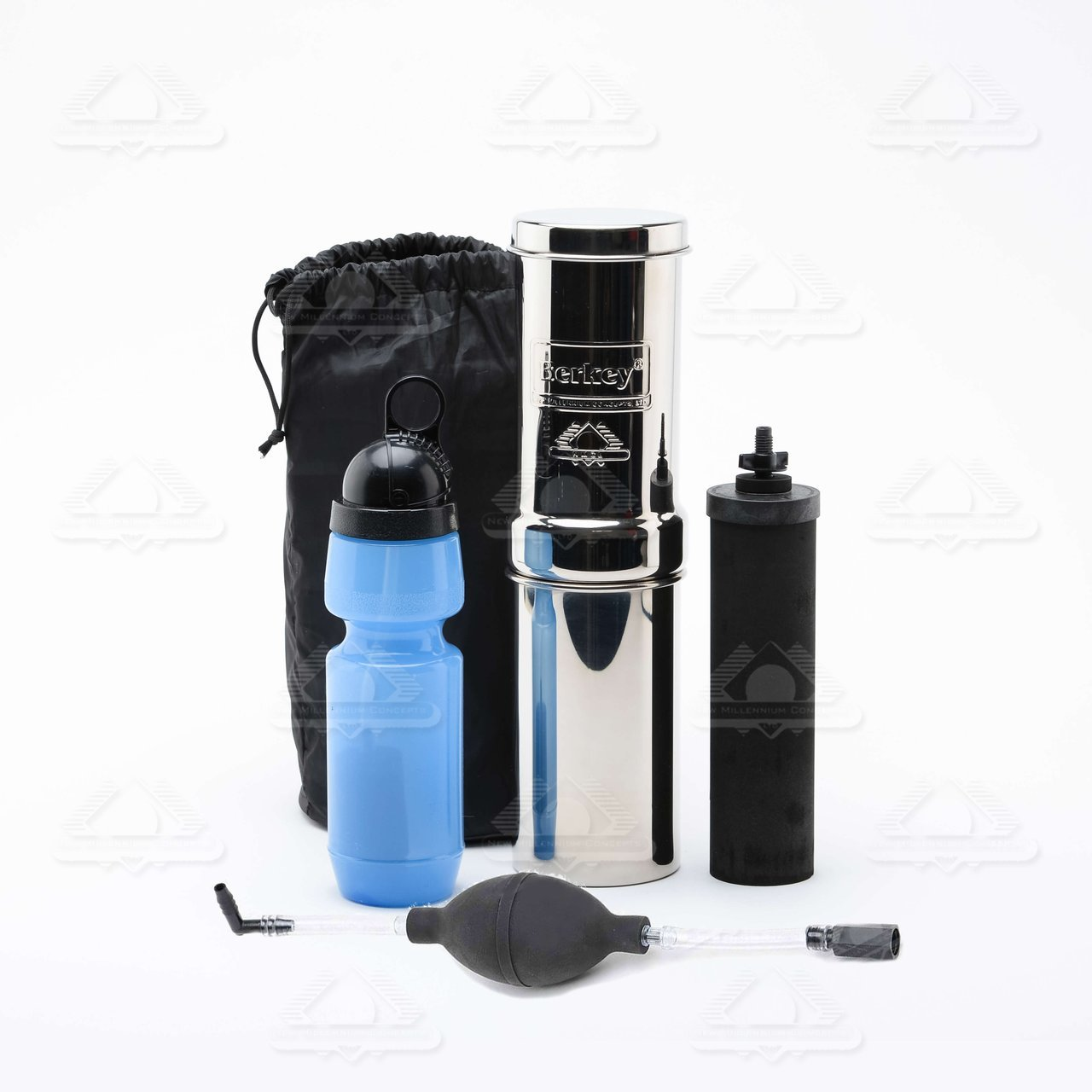 Go Berkey Kit (Includes Berkey Primer) -Stainless Steel Portable Water Filter System with Sport Berkey Water Bottle (Filter included) & a Vinyl Black Carrying Case GOBK-KIT