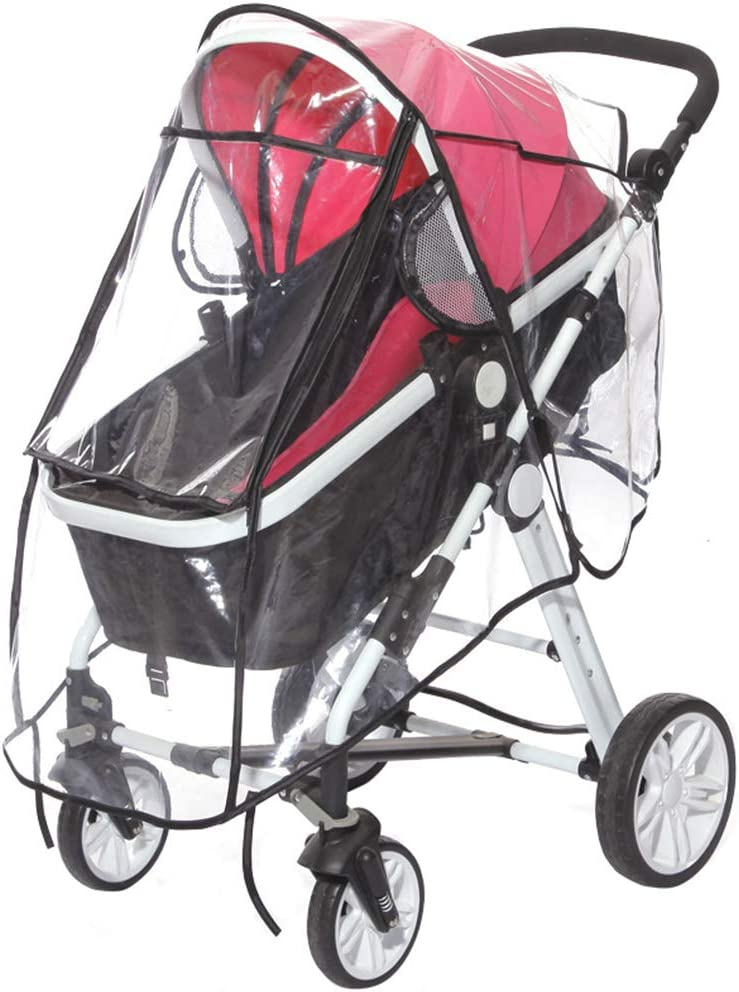 Zhhlaixing Universal Stroller Rain Cover for Pushchair Windproof Waterproof Transparant Weather Shield Zip Opening Snow Dust Cover for Buggy Pram Baby Carriage Outdoor Travel