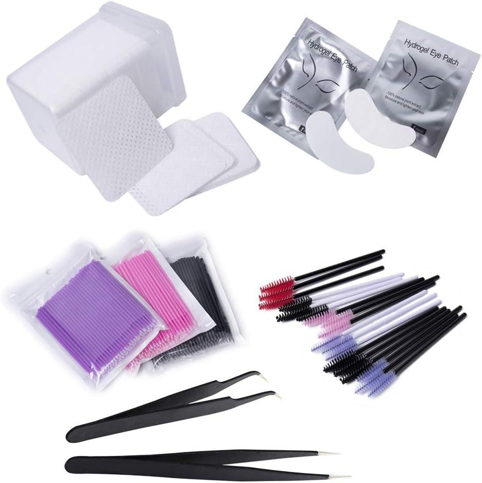 50 tampons oculaires en gel 100 brosses jetables 2x pincettes courbes droites 100 x coton-tiges Kit de colle pour extension de cils: 1 mini ventilateur USB 200 tampons de nettoyage