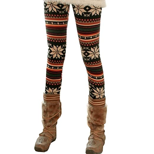 e8798b7f971034 Image Unavailable. Image not available for. Color: Rabbit Rachel Snowflake  Christmas Pattern Winter Thick Warm Leggings