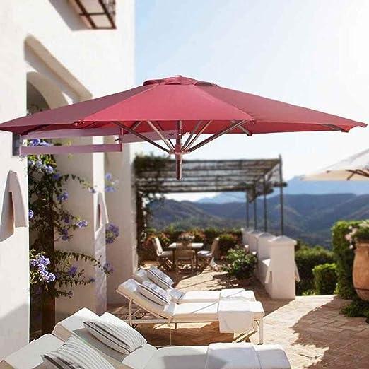 Parasol Jardin Sombrillas Terraza Playa Sombrillas de patio de montaje en pared, sombrilla de jardín para balcón al aire libre, sombrilla plegable a prueba de lluvia a prueba de rayos UV con