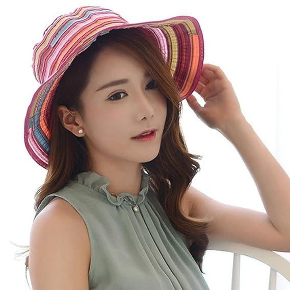 LAMEIDA Gorro de visera sombreros de paja Sombrero de sol Mujer Verano Rayas  de tela Gorra 15c072f13528