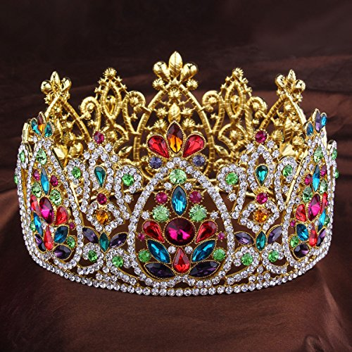 FUMUD 3.5'' height Crystal Bridal Tiara Wedding Hair Accessories Rhinestone Crown Round Symmetric Tiara Crown Wedding Pageant (Gold)