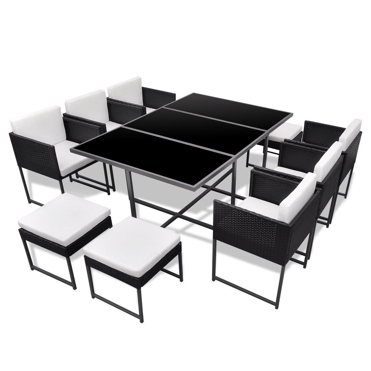 vidaXL 27-tlg. Gartenmöbel-Set Essgruppe schwarz Poly Rattan günstig