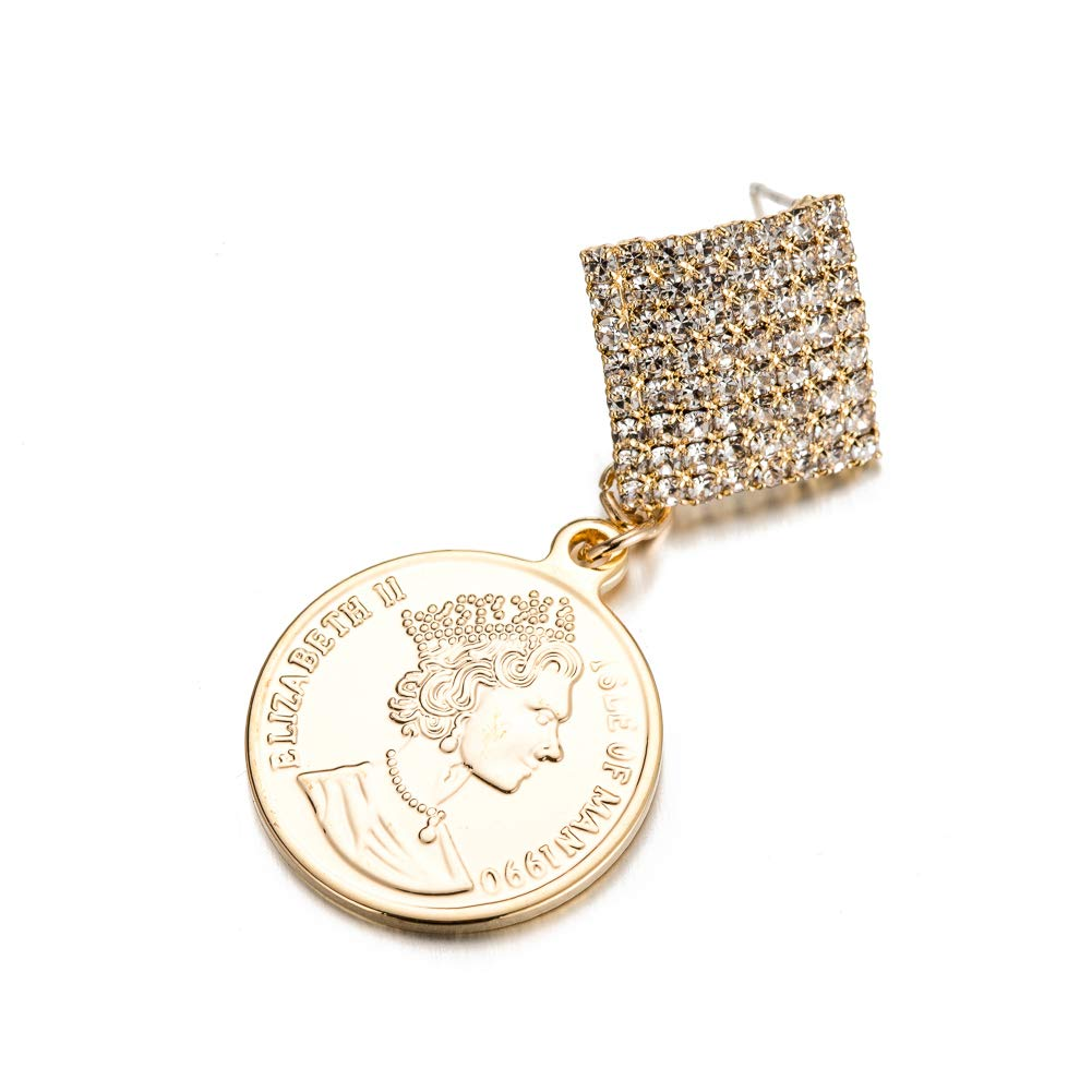 Square Crystal Earrings with Coin Jewelry Gift for Women Geometric Rhinestone Fully-jewelled Earrings